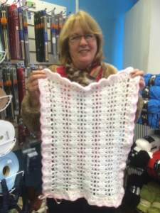 Here's are lovely Sue with a beautiful baby blanket.
