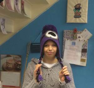 Angry minion hat, its so warm and cosy....thanks Yvonne