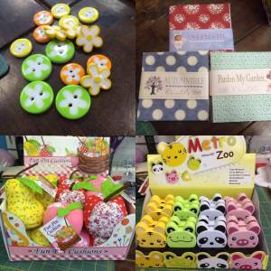 Buttons, Pin Cusions, Tape Measures and Tilda Fabrics