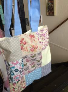 Hope's patchwork tote bag.